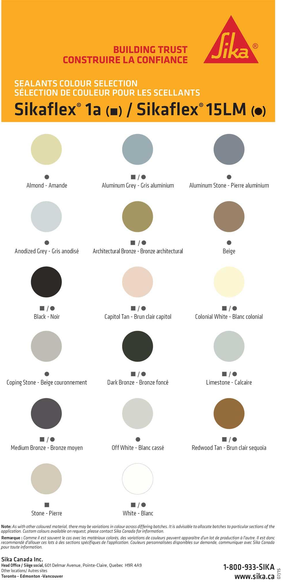 Charte Des Couleurs Calfeutrages Arcan Aluminium